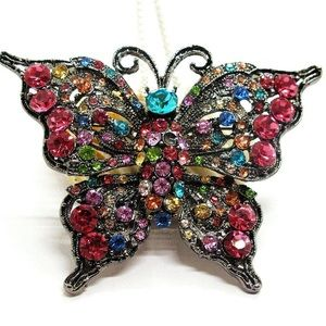 Butterfly Pendant- Brooch Chain Necklace